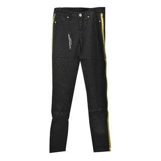 Black Womens Stretch Faux Leather Pants with Gold Side Lining