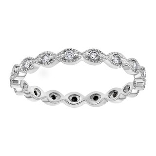 10K White Gold 1/4 carat TDW Black and White Diamond Reversible Stackable Eternity Band Ring - White H-I