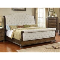 Best Master Furniture Beige Weathered Oak Sleigh Upholstered Bed