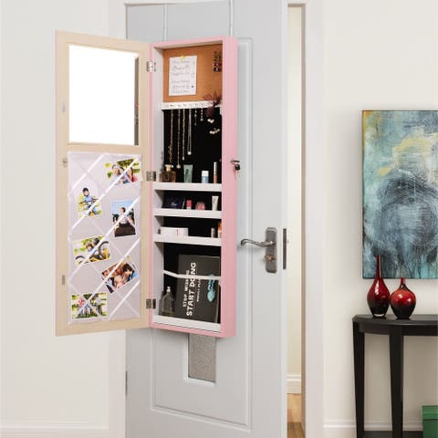 Evania Over-the-Door Jewelry Armoire Makeup Organizer Mirror - N/A