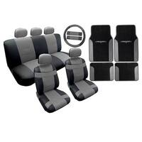 Two Tone Leather Seat Cover Black & Gray with Mats 18pc- Mazda