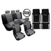 Two Tone Leather Seat Cover Black & Gray with Mats 18pc- Nissan Altima