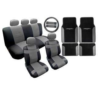 Two Tone Leather Seat Cover Black & Gray with Mats 18pc- Toyota Camry