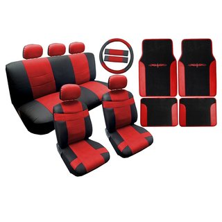 Two Tone Leather Seat Cover Black & Red w/Matching Mats 18pc- Kia Soul