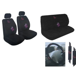 11Pcs Auto Interior Gift Set Multicolor Red & Pink Low Back Seat Cover
