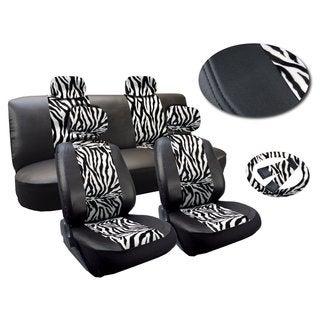 13 Piece Zebra Stripes Print Leatherette Seat Cover Set White & Black