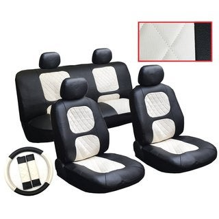 13Pcs Leatherette Jeep Black & White Seat Cover set Steering, Belt Pad