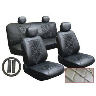 13Pcs Leatherette Ford Black Seat Cover set Steering,Seat Belt Pads