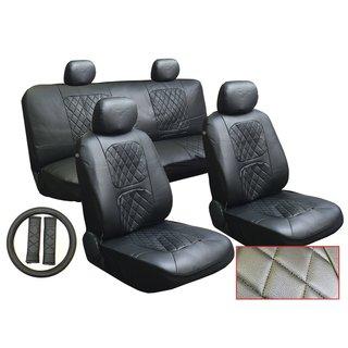 13Pcs Leatherette Kia Black Seat Cover set Steering,Seat Belt Pads
