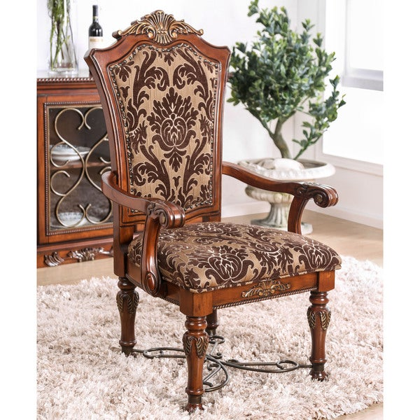 Leahlyn Reddish Brown Arm Chair Set Of 2: Shop Furniture Of America Tifanil Brown Cherry Finish Wood