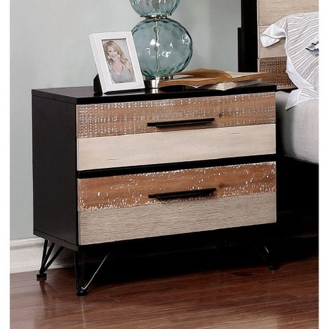 Misan Contemporary Sawblade 2-drawer Nightstand by FOA