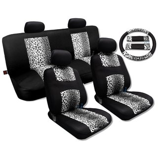 Gray Leopard Black Knit Mesh Cool Seat Cover Set - Jeep Low Back Seats