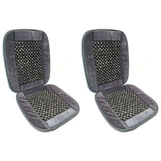 Bamboo Wooden Beaded Seat Cover Comfort Cushion -Office,Truck 2pk,Grey