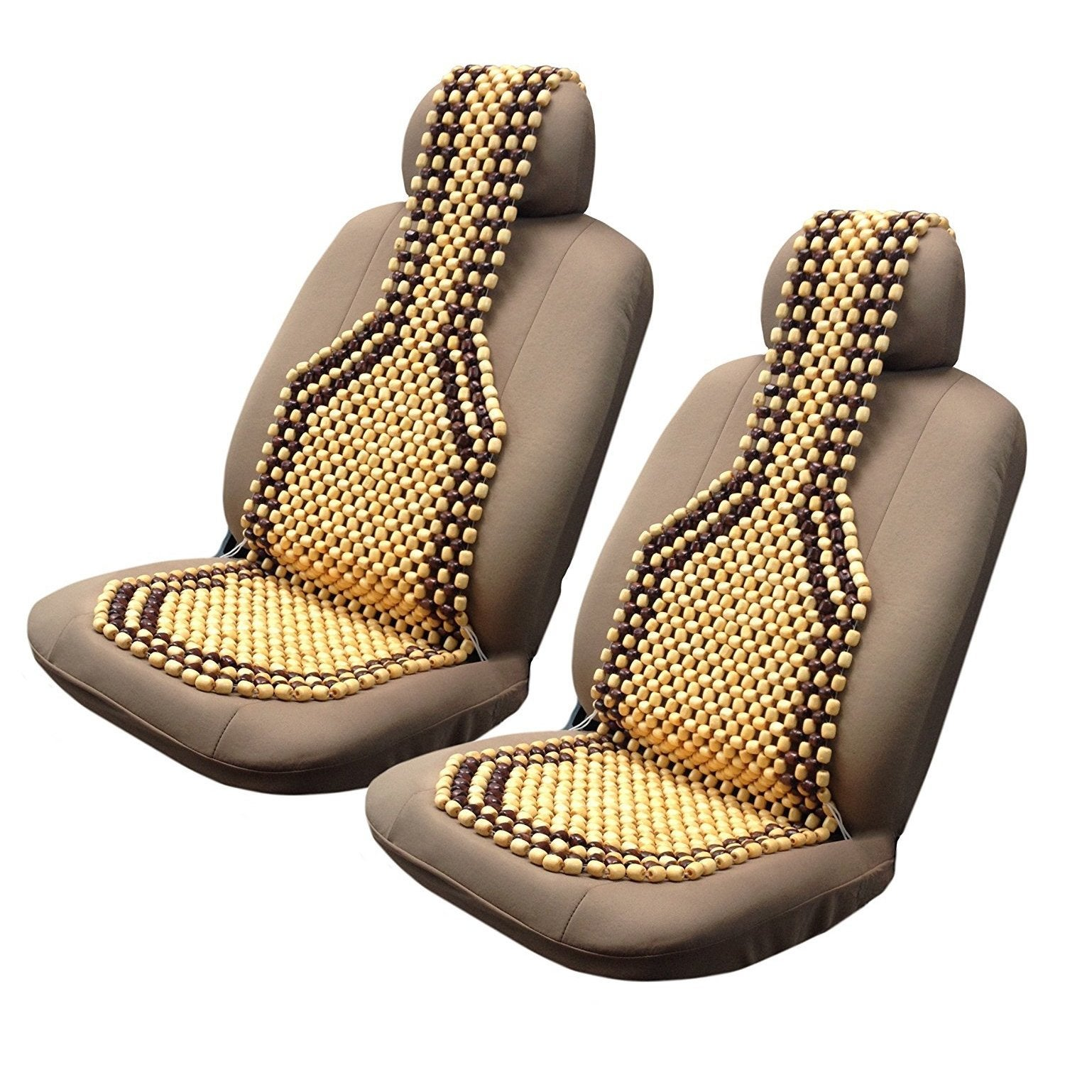 Unique Industries 2pk Two Tone Wooden Bead Seat Covers Cu...