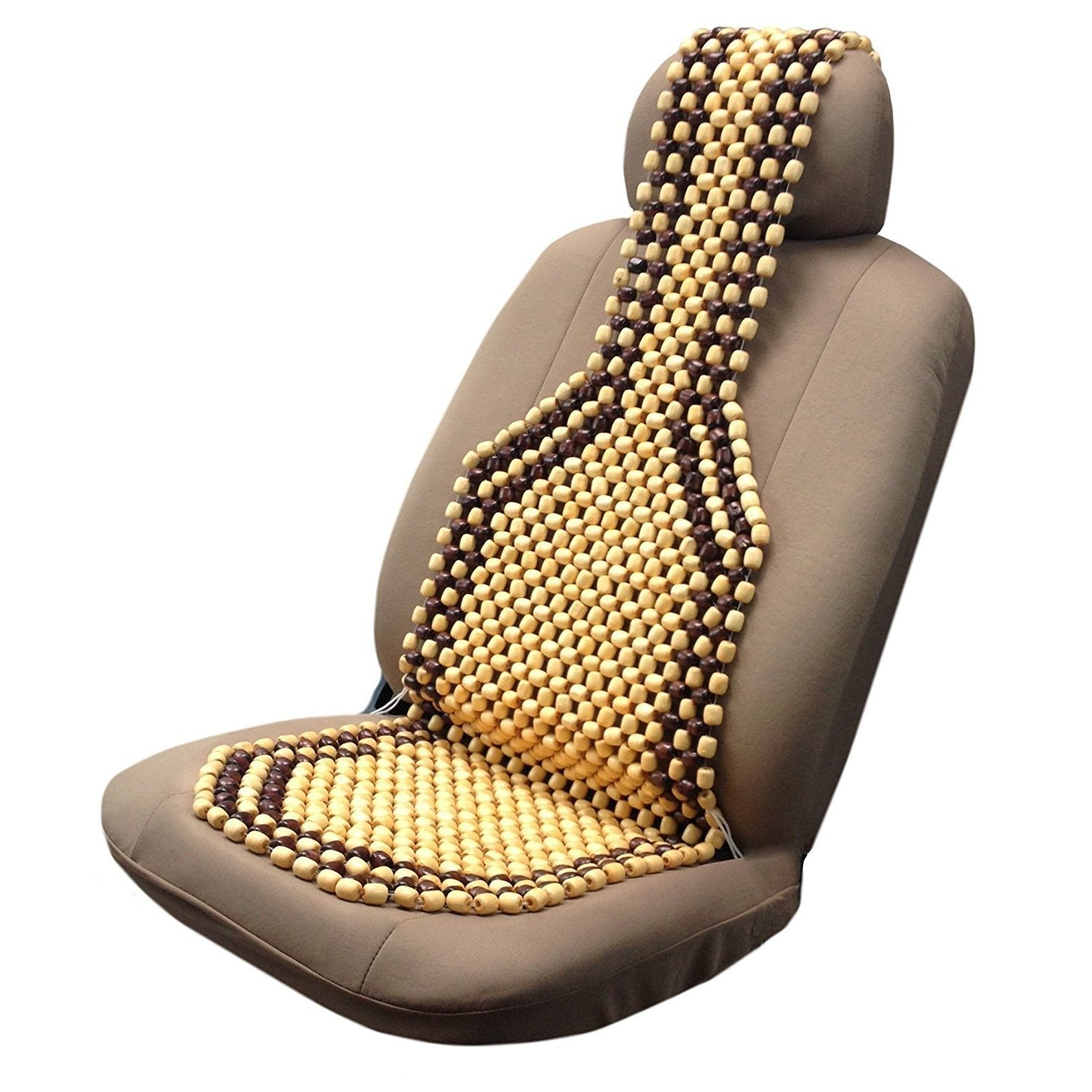 Unique Industries Two Tone Royal Wooden Bead Seat Cover C...