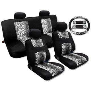 Gray Leopard Black Knit Mesh Cool Seat Cover Set Mid-Sized Sedans