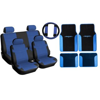 Two Tone Leather Seat Covers & Floor Mats Set 15pc Black & Blue