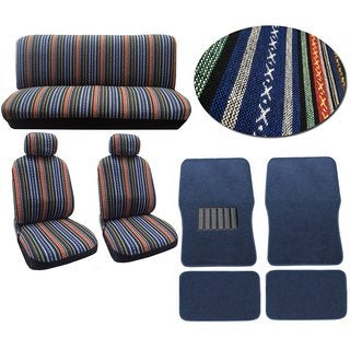 12pc Car Seat Cover Set Striped Saddle Blanket Front Low Bucket