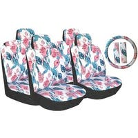 13Pcs Poly Cloth White Hawaiian Flowers Stitching Car Seat Cover Steering