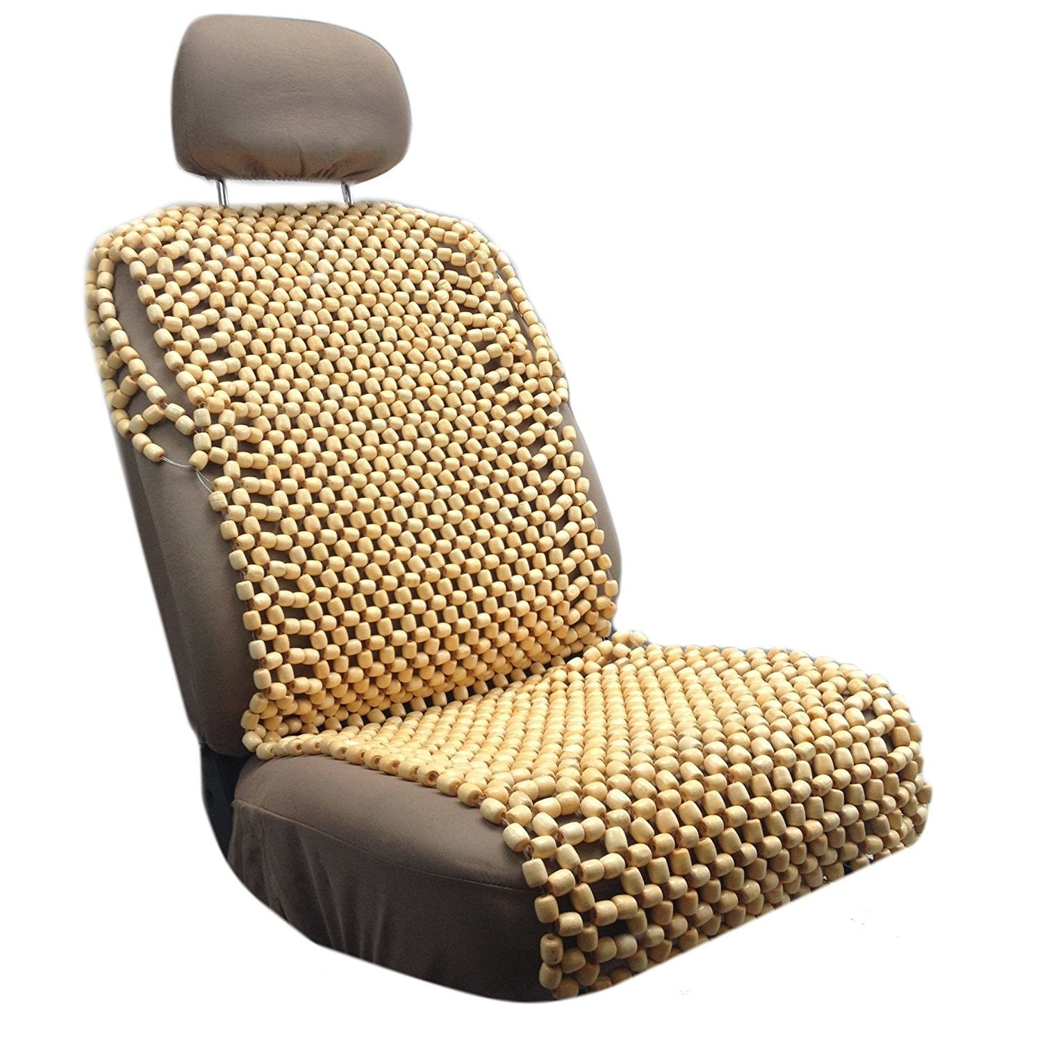 Unique Industries Natural Royal Wood Bead Seat Cover Cush...