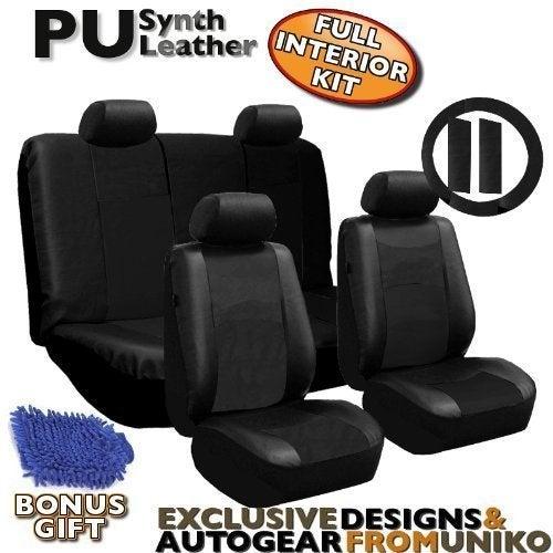 Unique Industries Leather 10pc Car Seat Covers Black Deta...