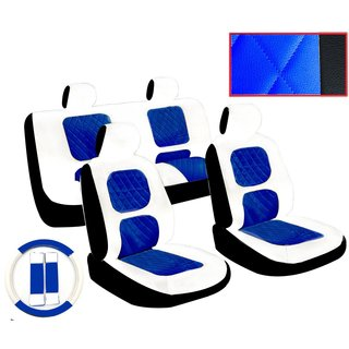 13Pcs White & Blue Diamond Stitching Leather Car Seat Cover Steering