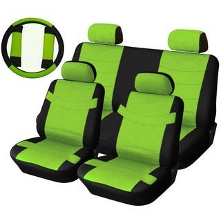Two Tone PU Synth Leather Seat Covers Set 11pc Black & Electric Green