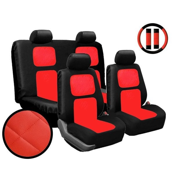13Pcs Red Diamond Stitching Faux Leather Car Seat Cover Steering