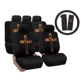 Luxury Jesus Christian Cross Polyester Car Seat Cover Set Steering