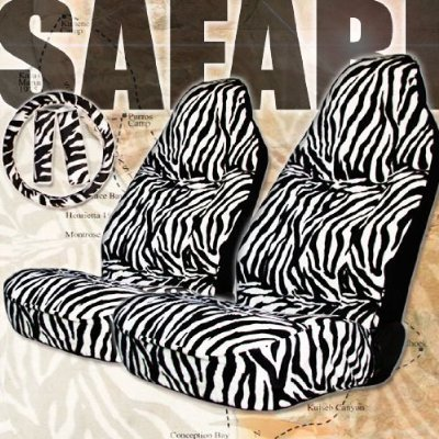 5pcs Zebra Print High Back Car Seat Cover Set Steering Belt