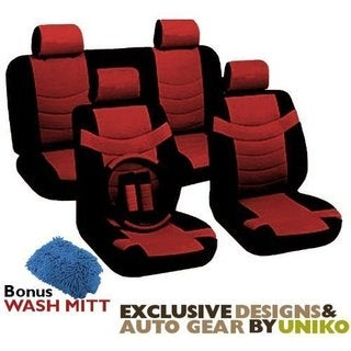 Two Tone Leather Seat Cover Set 11pc Black & Red Superior 2 Bucket
