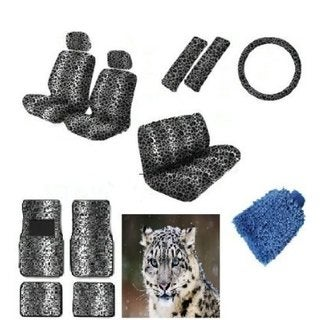 16 pieces Snow White Leopard Interior Seat Cover set Low Seat Covers