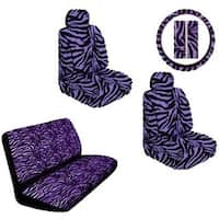 Purple Zebra Print Safari Stripes Car Truck SUV Seat Covers Gift Set