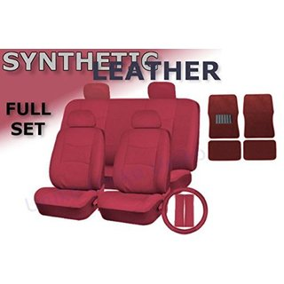 17Pcs Leatherette Seat Cover Set 4pc Carpet Mats Steering Bonus Red