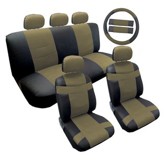 14Pcs Two Tone Leather Seat 5pc Headrest Steering Lively Tan