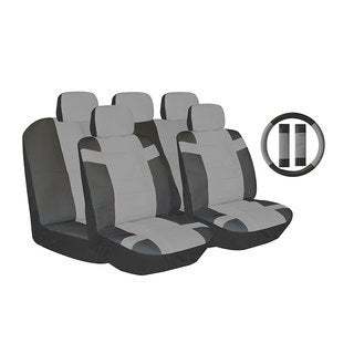 14Pcs Two Tone Leather Seat 5pc Headrest Steering Grey and Black