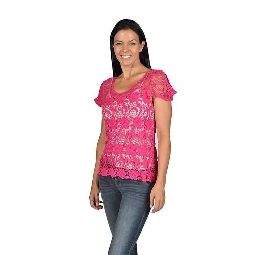 Wanted Floral Pattern Knit Scoop Fringe Loose Junior Size...