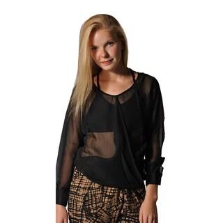 Women's Casual Long Sleeve Chiffon Top T-shirt Blouse Black