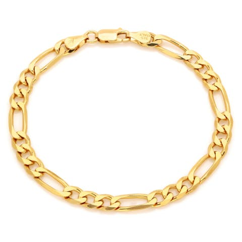 Yellow Gold Plated Silver 7 mm Beveled Figaro Bracelet (7-9 Inch)