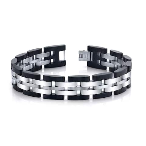 SPARTAN Men's 8 Inch Long Two-Tone Black and Silver Stainless Steel Fits 7 to 8 Inch Wrists Mens Accessories Fashion Bracelet