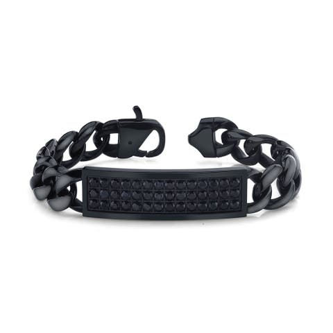 Spartan black sapphire stainless steel men's bracelet