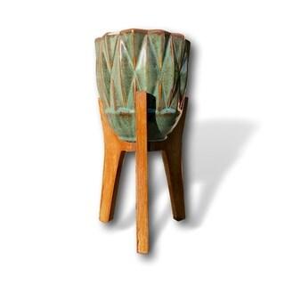 Handmade Boho Teal Indoor-Outdoor Vase with Wooden Stand - Bohemian Set