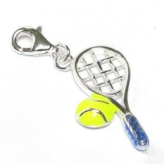 SILVER DANGLING TENNIS RACKET /& BALL EUROPEAN BEAD