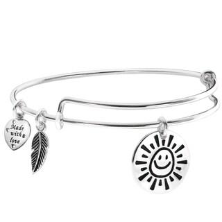 Qina C. Sterling Silver My Sunshine Smiley Feather Dangle Charm Expandable Bangle Bracelet