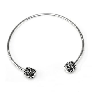 Qina C. Sterling Silver Butterfly Ball Bangle Bracelet for Bead Charms