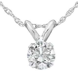 Bliss 14k White Gold 1/2 ct TDW Round Diamond Solitaire Pendant