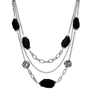 3 Row Crystal & Jet Station Necklace - Silver