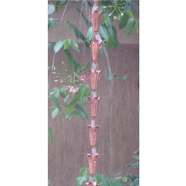 Monarch Pure Copper Lily Rain Chain 8.5-Foot Inclusive of Installation Hanger