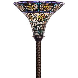 Tiffany-style Yellow Rose Torchiere