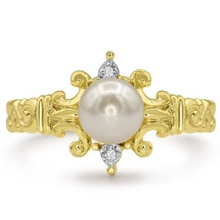 Round Freshwater Cultured Pearl and Diamond Ring In 14 Karat Yellow Gold - White